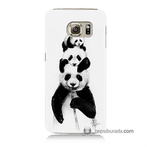 Teknomeg Samsung Galaxy S6 Kapak Kılıf Panda Ailesi Baskılı Silikon