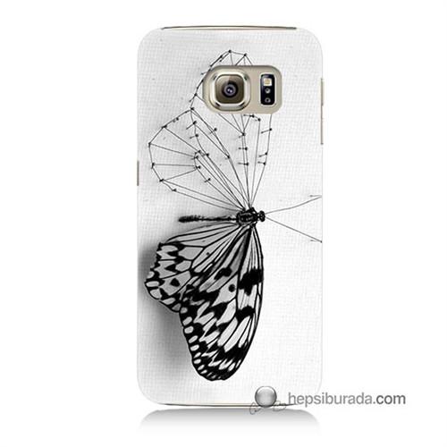 Teknomeg Samsung Galaxy S6 Kapak Kılıf Kanatsız Kelebek Baskılı Silikon