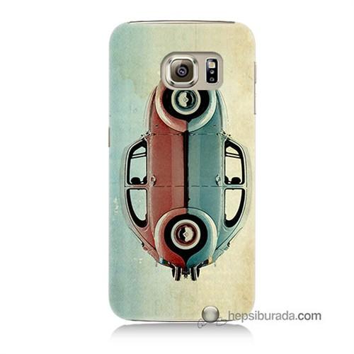 Teknomeg Samsung Galaxy S6 Kılıf Kapak Mavi Kırmızı Wolkswagen Baskılı Silikon