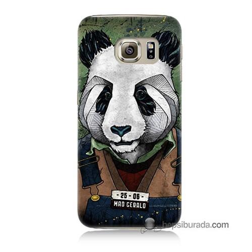 Teknomeg Samsung Galaxy S6 Kapak Kılıf İşçi Panda Baskılı Silikon