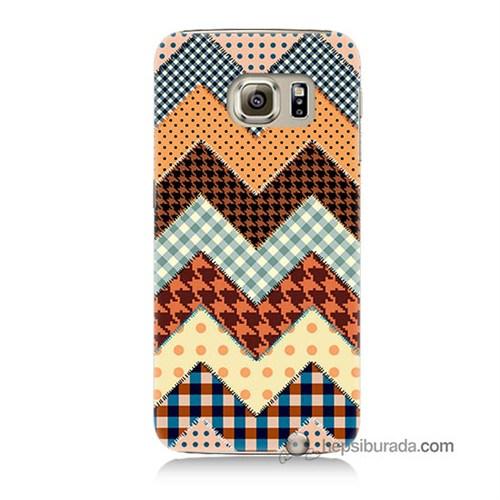 Teknomeg Samsung Galaxy S6 Kapak Kılıf Patchwork Baskılı Silikon