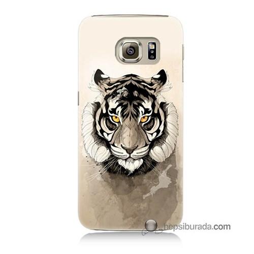 Teknomeg Samsung Galaxy S6 Kapak Kılıf Beyaz Aslan Baskılı Silikon