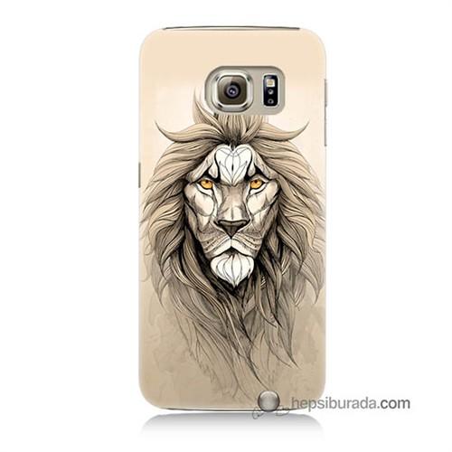 Teknomeg Samsung Galaxy S6 Kılıf Kapak Beyaz Aslan Baskılı Silikon