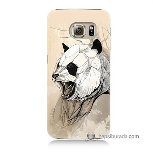 Teknomeg Samsung Galaxy S6 Kapak Kılıf Kavgacı Panda Baskılı Silikon