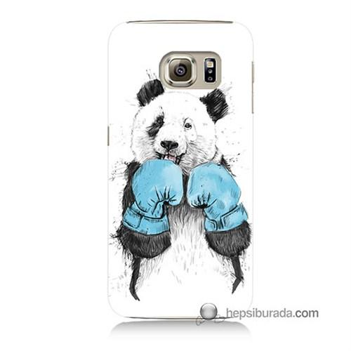 Teknomeg Samsung Galaxy S6 Kılıf Kapak Boksör Panda Baskılı Silikon