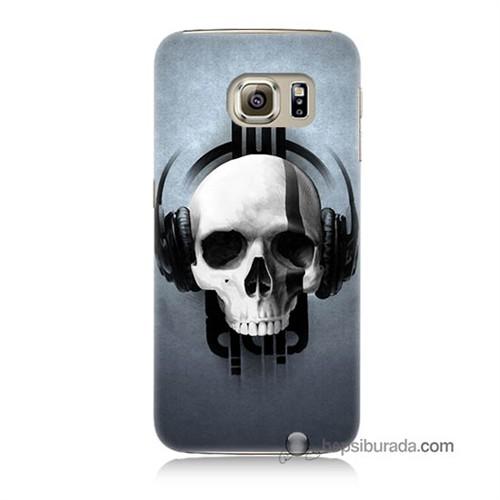 Teknomeg Samsung Galaxy S6 Kılıf Kapak Müzik Dinleyen Kurukafa Baskılı Silikon