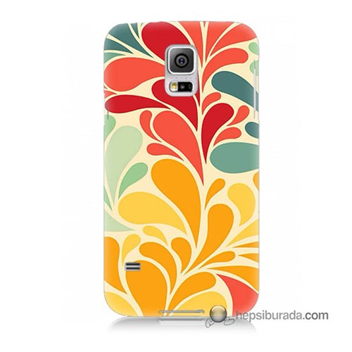 Teknomeg Samsung Galaxy S5 Kapak Kılıf Çiçekler Baskılı Silikon