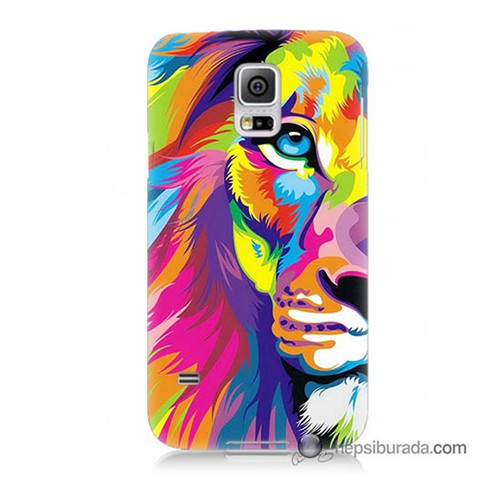 Teknomeg Samsung Galaxy S5 Kılıf Kapak Renkli Aslan Baskılı Silikon