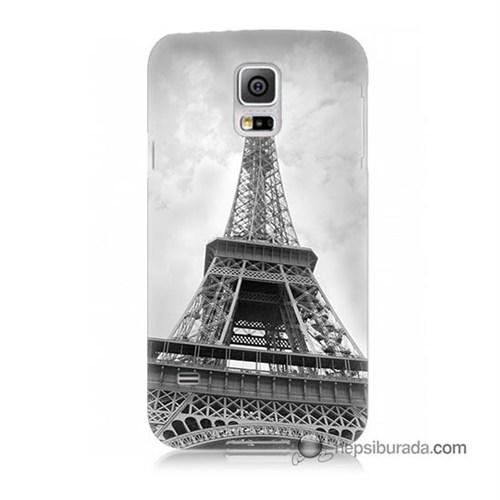 Teknomeg Samsung Galaxy S5 Kapak Kılıf Eyfel Kulesi Baskılı Silikon