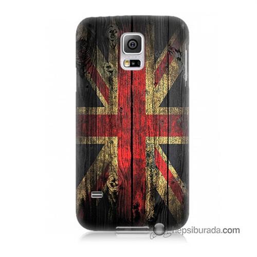 Teknomeg Samsung Galaxy S5 Kapak Kılıf İngiliz Bayrağı Baskılı Silikon
