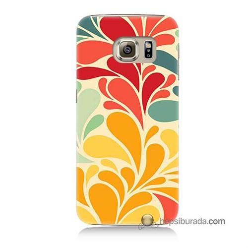Teknomeg Samsung Galaxy S6 Kapak Kılıf Çiçekler Baskılı Silikon