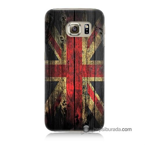 Teknomeg Samsung Galaxy S6 Kapak Kılıf İngiliz Bayrağı Baskılı Silikon