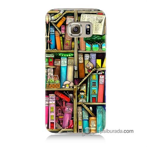 Teknomeg Samsung Galaxy S6 Kapak Kılıf Kitaplık Baskılı Silikon
