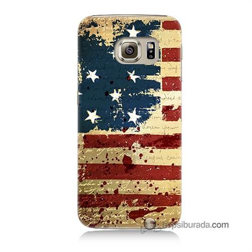 Teknomeg Samsung Galaxy S6 Kılıf Kapak Amerika Bayrağı Baskılı Silikon