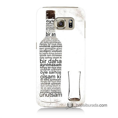 Teknomeg Samsung Galaxy S6 Kapak Kılıf Rakı Şişesi Baskılı Silikon