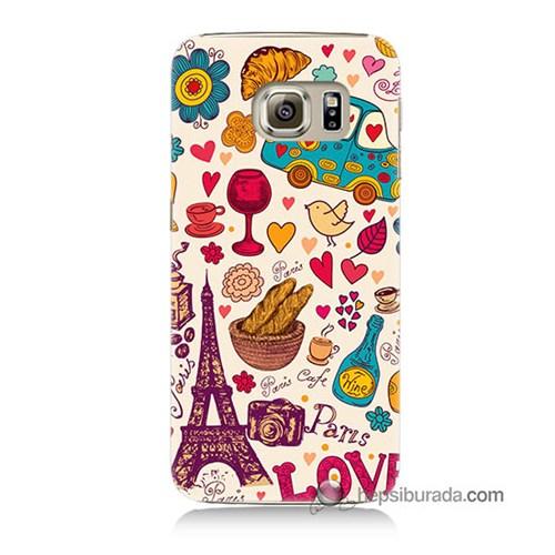 Teknomeg Samsung Galaxy S6 Kapak Kılıf Paris Love Baskılı Silikon