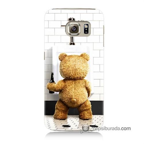 Teknomeg Samsung Galaxy S6 Kılıf Kapak Tedy Bear Baskılı Silikon