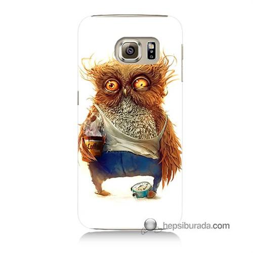 Teknomeg Samsung Galaxy S6 Kapak Kılıf Miskin Baykuş Baskılı Silikon
