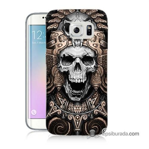 Teknomeg Samsung Galaxy S6 Edge Plus Kılıf Kapak Kafatası Krallığı Baskılı Silikon