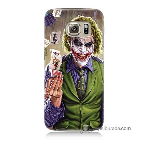 Teknomeg Samsung Galaxy S6 Kılıf Kapak Kartlı Joker Baskılı Silikon
