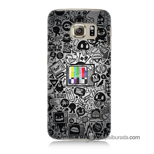 Teknomeg Samsung Galaxy S6 Kapak Kılıf Renkli Tv Baskılı Silikon