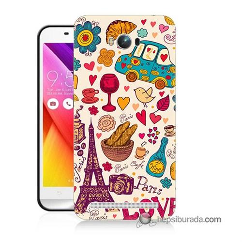 Teknomeg Asus Zenfone Max Kapak Kılıf Paris Love Baskılı Silikon