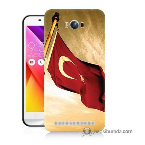 Teknomeg Asus Zenfone Max Kılıf Kapak Türk Bayrağı Baskılı Silikon