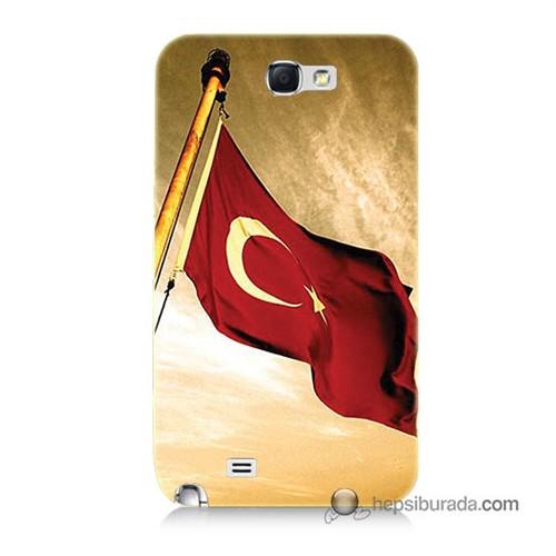 Teknomeg Samsung Galaxy Note 2 Kılıf Kapak Türk Bayrağı Baskılı Silikon