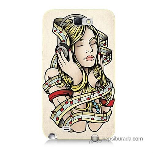 Teknomeg Samsung Galaxy Note 2 Kapak Kılıf Müzik Aşkı Baskılı Silikon