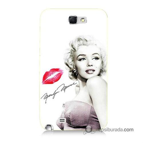 Teknomeg Samsung Galaxy Note 2 Kapak Kılıf Marilyn Monroe Baskılı Silikon