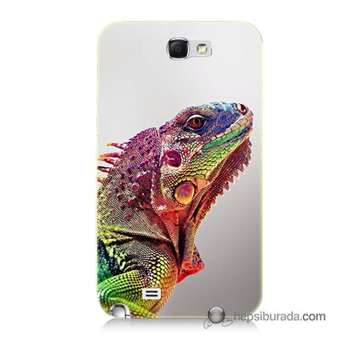 Teknomeg Samsung Galaxy Note 2 Kapak Kılıf İguana Baskılı Silikon