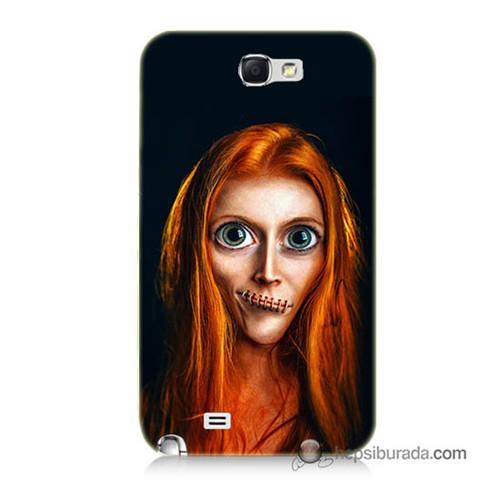 Teknomeg Samsung Galaxy Note 2 Kılıf Kapak Zombie Kız Baskılı Silikon