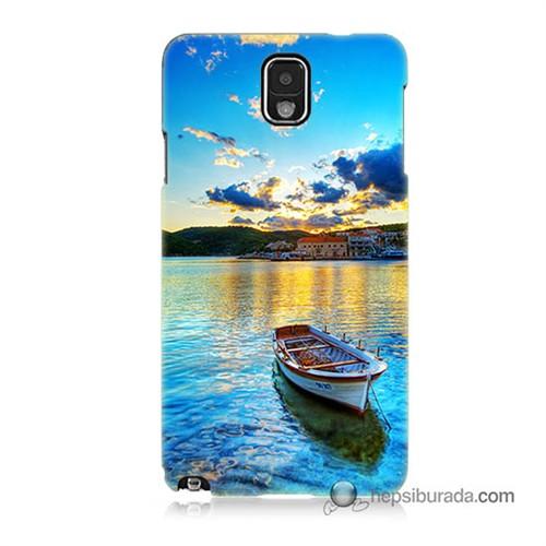 Teknomeg Samsung Galaxy Note 3 Kılıf Kapak Gün Batımında Deniz Baskılı Silikon