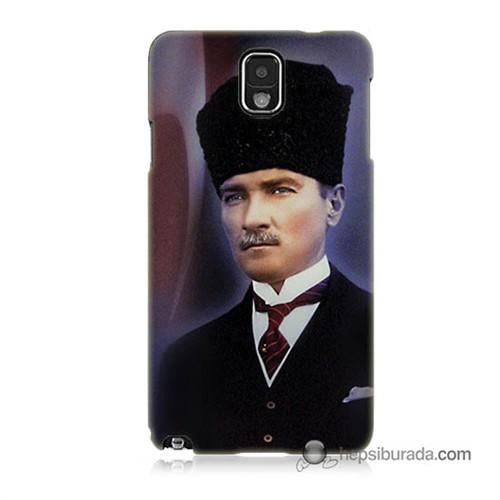 Teknomeg Samsung Galaxy Note 3 Kılıf Kapak Mustafa Kemal Atatürk Baskılı Silikon
