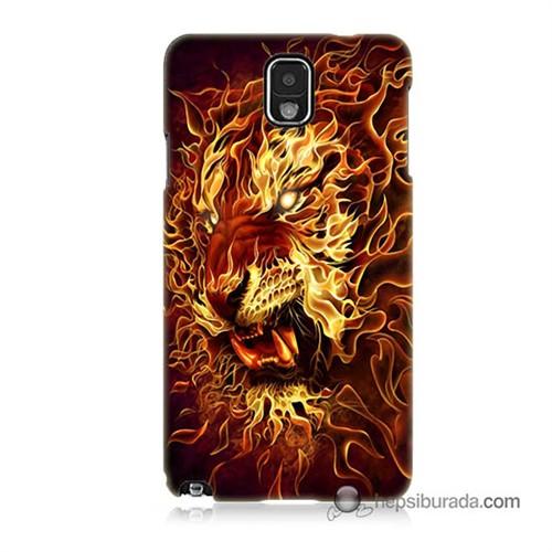 Teknomeg Samsung Galaxy Note 3 Kılıf Kapak Ateşli Aslan Baskılı Silikon