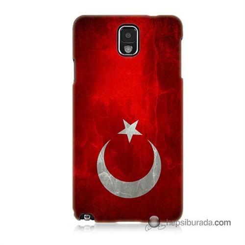 Teknomeg Samsung Galaxy Note 3 Kılıf Kapak Türkiye Bayrağı Baskılı Silikon