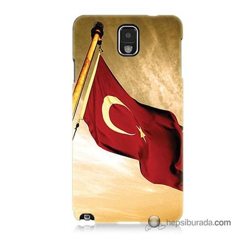 Teknomeg Samsung Galaxy Note 3 Kılıf Kapak Türk Bayrağı Baskılı Silikon
