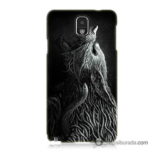 Teknomeg Samsung Galaxy Note 3 Kılıf Kapak Savaşçı Kurt Baskılı Silikon