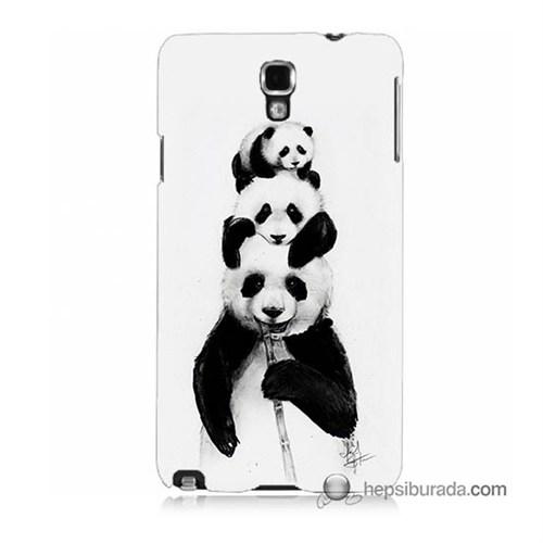 Teknomeg Samsung Galaxy Note 3 Neo Kapak Kılıf Panda Ailesi Baskılı Silikon