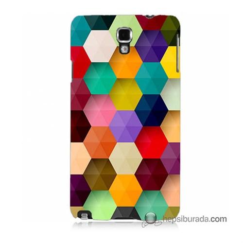 Teknomeg Samsung Galaxy Note 3 Neo Kapak Kılıf Renkli Petek Baskılı Silikon