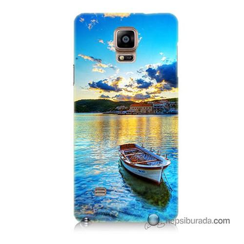 Teknomeg Samsung Galaxy Note 4 Kılıf Kapak Gün Batımında Deniz Baskılı Silikon