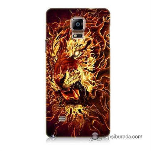 Teknomeg Samsung Galaxy Note 4 Kılıf Kapak Ateşli Aslan Baskılı Silikon