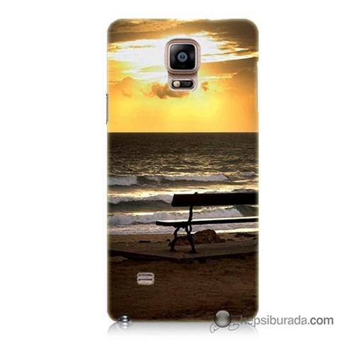 Teknomeg Samsung Galaxy Note 4 Kılıf Kapak Gün Batımı Baskılı Silikon