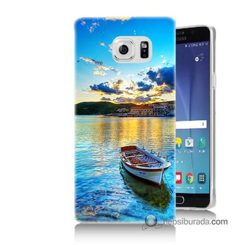 Teknomeg Samsung Galaxy Note 5 Kılıf Kapak Gün Batımında Deniz Baskılı Silikon