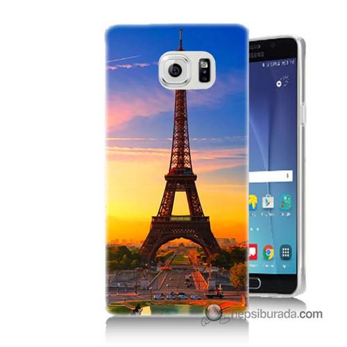 Teknomeg Samsung Galaxy Note 5 Kapak Kılıf Eyfelde Gün Batımı Baskılı Silikon