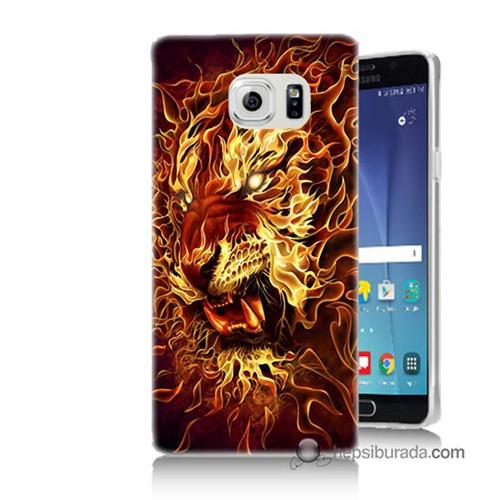 Teknomeg Samsung Galaxy Note 5 Kılıf Kapak Ateşli Aslan Baskılı Silikon
