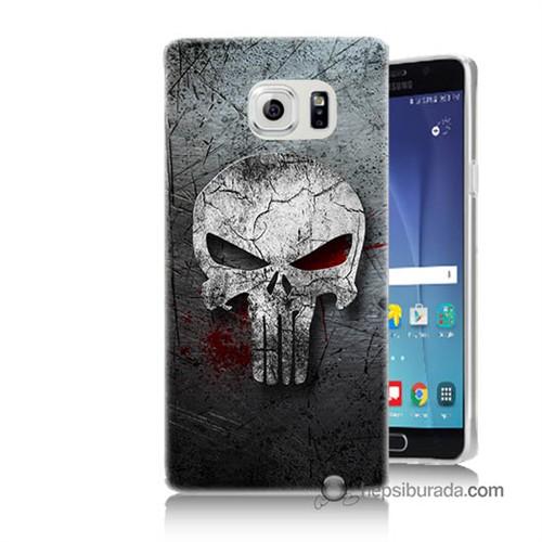 Teknomeg Samsung Galaxy Note 5 Kılıf Kapak Punnisher Kurukafa Baskılı Silikon