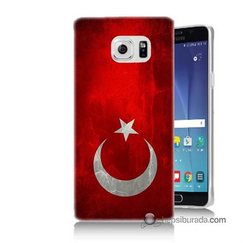 Teknomeg Samsung Galaxy Note 5 Kılıf Kapak Türkiye Bayrağı Baskılı Silikon