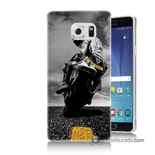 Teknomeg Samsung Galaxy Note 5 Kapak Kılıf Motorsiklet Baskılı Silikon