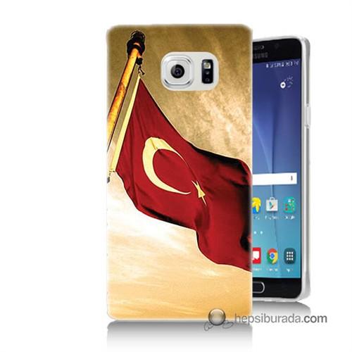Teknomeg Samsung Galaxy Note 5 Kılıf Kapak Türk Bayrağı Baskılı Silikon